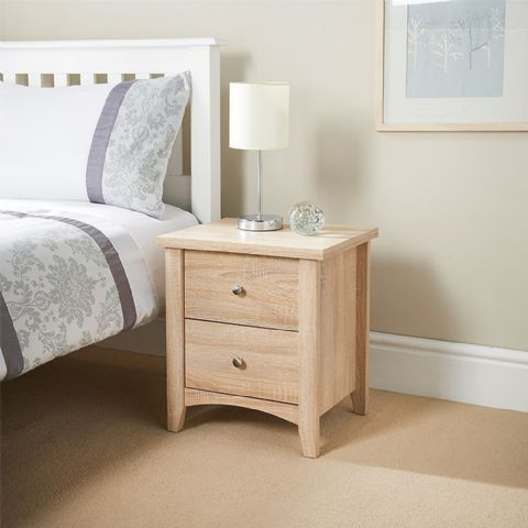 Washed Oak 2 Drawer Bedside Table